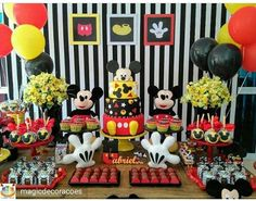 Mickey Mouse Striped Theme Birthday Party Dessert Table and Decor Baby Mickey Mouse, Festa Mickey Baby, Mickey Mouse Desserts, Mickey Mouse Balloons, Fiesta Mickey Mouse, Mickey Mouse Parties, Mickey Party, Mickey Mouse Clubhouse Birthday Party, Mickey Mouse Birthday
