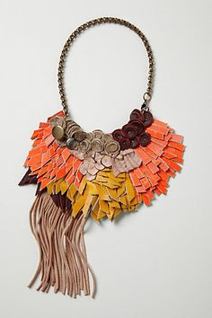 Leather scraps bib necklace. AMAZING detail.