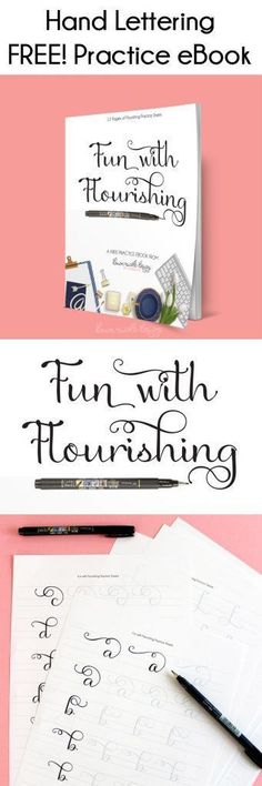 Diy Crafts Ideas Fun with Flourishing: Free Hand Lettering Practice eBook. Work on your flourishes with the twelve pages of practice sheets in this free eBook! Creative Lettering, Lettering Styles, Brush Lettering, Calligraphy Letters, Modern Calligraphy, Learn Calligraphy, Lettering Practice Sheets, Penmanship Practice, Dawn Nicole