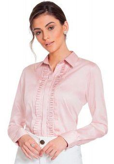 d3ece467e2 Camisa Feminina Manga Longa Com Drapeados Cor Rosê Principessa