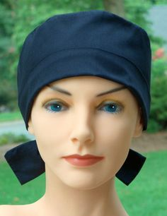 Surgical Scrub Hat Chemo Cap The Mini Black by thehatcottage, $14.00