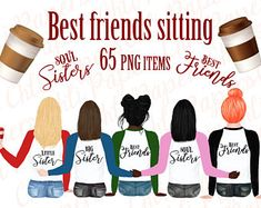 Best friends clipart custom portrait creator COMMERCIAL   Etsy Watercolor Images, Watercolor Portraits, Friends Clipart, White Tee Shirts, Soul Sisters, Different Hairstyles, Brown Skin, Custom Invitations, Make Your Own