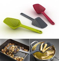 I just love gadgets with multiple uses! A colander and cooking utensil in one! Scoop and drain directly from pan. Ideal for straining pasta, vegetables and fried food. Large Scoop Colander from Culinary Apple Cooking Spoon, Cooking Utensils, Cooking Tools, Clothes Clips, Kitchen Gadgets, Kitchen Stuff, Kitchen Tools, Joseph Joseph, Kitchen Helper