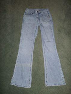 Women's Light Blue SILVER JEANS Distressed Fashion Jeans, Size 24 X 29, GUC! #SilverJeans #DistressedFashionStitchedPocketFlareJeans