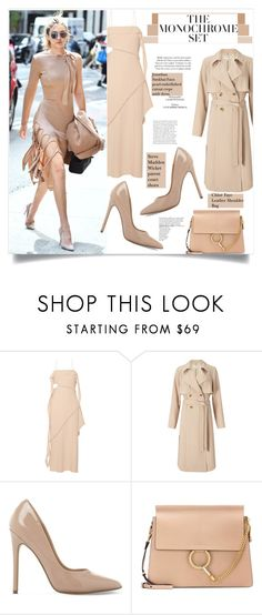 """""""One Color, Head to Toe"""" by sofirose ❤ liked on Polyvore featuring Jonathan Simkhai, Miss Selfridge, Steve Madden, Chloé, monochrome, nude, modelstyle and gigihadid"""