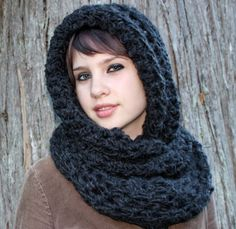 Hood scarf cowl neck shawl charcoal black