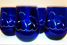 Braided Dressage Horse Xtrot With Arena on 4 Stemless Cobalt Blue Wine Glasses - Hand Etched with White Enamel Accents
