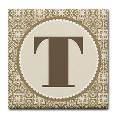 Beautiful Monogrammed Letter T ceramic tile coaster.