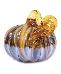 Glitzhome Stripe Glass Pumpkin | zulily