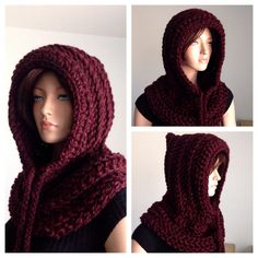 Instant Download PATTERN ONLY. Crochet Hooded Cowl by Africancrab
