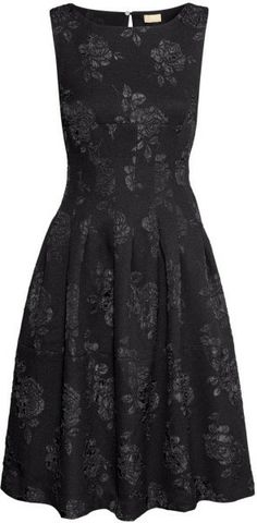 Black Brocade Dress   Figure-fit sleeveless dress in a weave with a brocade pattern, with a seam under the bust, pleats front and back, and an opening at the back with a concealed button at the back of the neck.