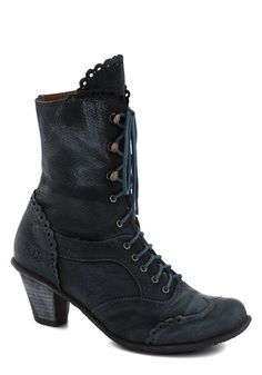 Strutting Edge Boot - Blue, Solid, Scallops, Trim, French / Victorian, International Designer, Mid, Leather, Best, Steampunk, Lace Up, Folk ...