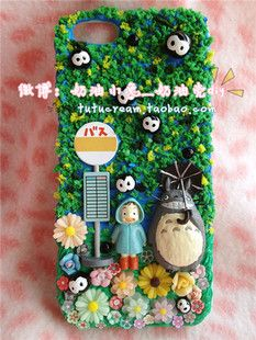 Ghibli Totoro cream deco phone case