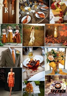 Autumn wedding ideas - I really like the table setting and linens and the tux