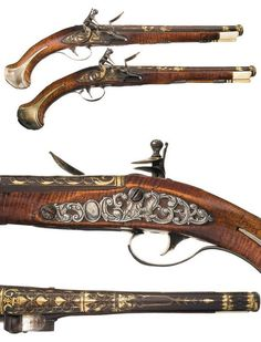 A pair of elaborate gold and silver decorated flintlock pistols originating from Russia, 18th century.