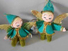 Vintage Green Christmas Angel Ornaments