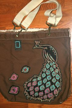 Peacock pigment dyed canvas tote bag by Annapola on Etsy, $45.00