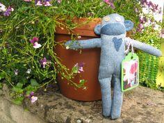 The Violet Pincushion: I've made a Denim Sock Monkey!