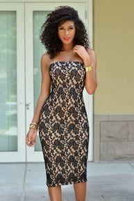 Mandisa Black Lace Nude Illusion Tube Dress