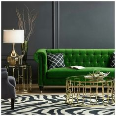 How do you feel about a green velvet sofa? From - Architecture and Home Decor - Bedroom - Bathroom - Kitchen And Living Room Interior Design Decorating Ideas - Living Room Green, Green Rooms, Living Room Sofa, Home Interior, Interior Design Living Room, Living Room Designs, Living Room Decor, Living Rooms, Interior Staircase