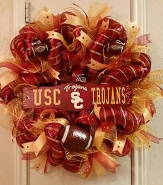 USC Trojans Wreath, University of Southern California Wreath, College Wreath, Deco Mesh Wreath, Football Wreath,Cardinal, Gold,SPECIAL ORDER by SouthTXCreations on Etsy