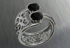 14k White Gold Modernized Vintage Style Engagement Ring by VOLISA, $1900.00