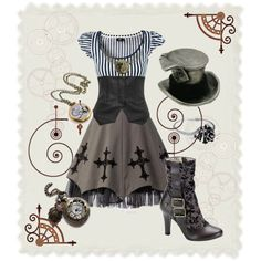 Now this I love. Seems to be a blend of Goth, Steampunk, and Alice. Yes, yes, yes!