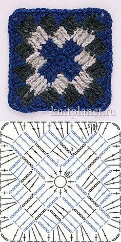 Планета Вязания | Квадратный мотив крючком № 5. Схема вязания узора крючком