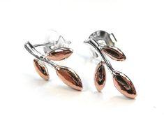 Silver Earrings - Sprig Leaf Design, Rose Gold Plates, Sterling Silver Earrings, Cufflinks, Accessories, Beautiful, Wedding Cufflinks, Ornament