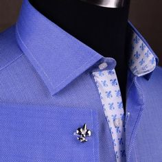 Mens-Blue-Formal-Herringbone-Business-Dress-Shirt-French-Double-Cuffs-Luxury-Top