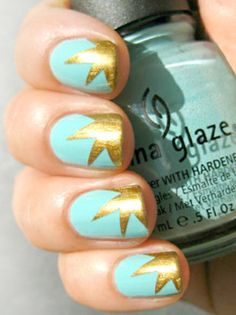 mint green and gold! #nailart