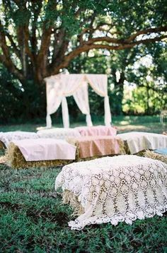 love this for the ceremony!! this way I dont have to order over two hundred chairs!! love love love!! now to see if my uncle and aunt are willing!! :-)