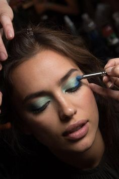 Perfect eyeshadow backstage at Diane von Furstenberg Spring 2016