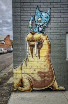 Walrus & friend, Melbourne  -- Makatron street art in Fitzroy