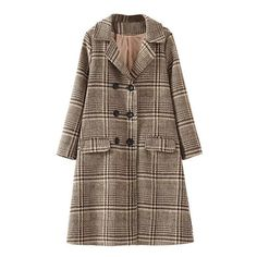 Khaki Plaid Double Breasted Coat ($60) ❤ liked on Polyvore featuring outerwear, coats, tartan coat, double breasted coat, khaki coat, plaid coat and brown coat