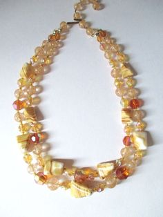 Vintage Double Bead Strand Necklace GERMANY Agate / Amber Glass Lucite Glitter  #UnsignedGermanBeadStrandNecklace #DoubleBeadStrandBeadStrandFishhookclasp