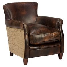 Showcasing a birch wood frame and leather upholstery, this handsome arm chair brings stately style to your home office or master suite.