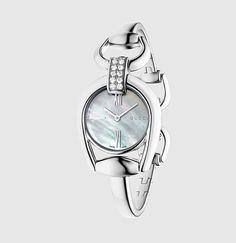 Gucci - reloj de acero inoxidable con pulsera con horsebit y diamantes