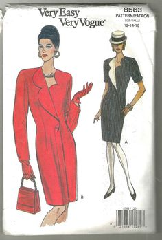 Vintage Vogue 8563 Dress sewing pattern pre cut semi fitted slightly tapered dress above mid knee shoulder pads extended shoulders by NoodlesNotions on Etsy Vintage Vogue, Vintage Glamour, Vintage Fashion, Clothing Patterns, Sewing Patterns, Vintage Patterns, Asymmetrical Coat, Back In The 90s, Estilo Real