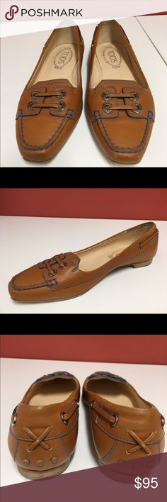 Tod's loafers, tan leather with blue trim. 6.5 Beautiful Tod's loafers, tan leather with blue trim. 6.5 Tod's Shoes Flats & Loafers