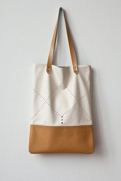CIJ 20 OFF Tan Perforated Tote bag No. TL 5002 by CORIUMI on Etsy, $78.00