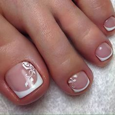 Ideas for french pedicure ideas toenails wedding nails Pedicure Nail Art, Polka Dot Pedicure, Bridal Pedicure, Pedicure Colors, Toe Nail Art, Pedicure Ideas, French Pedicure Designs, Toe Nail Designs, Wedding Toes