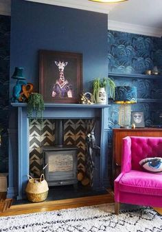 Ideas Wallpaper Blue Living Room Chairs For 2019 Dark Blue Living Room, Accent Walls In Living Room, Living Room With Fireplace, Living Room Chairs, Living Room Decor, Alcove Ideas Living Room, Quirky Living Room Ideas, Blue Feature Wall Living Room, Living Rooms