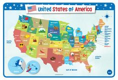 merka Educational Kids Placemat - Non Slip Washable (USA Map) Learning Tools, Learning Resources, Kids Learning, Geography For Kids, States And Capitals, Kids Homework, Kids Usa, Toddler Learning, Kids Education