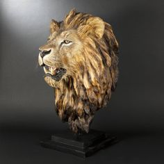 Antique Animal Sculptures For Sale at Tree Carving, Wood Carving Art, Wooden Statues, Wooden Art, Cool Walking Canes, Lion Art, Wooden Animals, Gold Wood, Stencil Painting