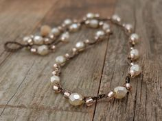 Cream Faceted Glass White Beads with Pearl by JunoniaDesigns