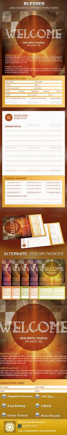 The Blessed Church Connection Card Template is great for any Church. It can be used to connect with your congregation, for decision card, attendance purposes or for surveys, etc. The layered Photoshop files are color coded and organized in folders for easy editing. The file also contains 7 – One Click Color options. $6.00