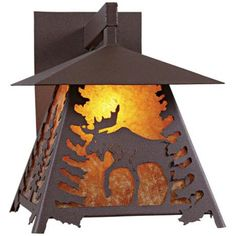 Gorgeous amber mica and a rustic brown finish complete this outdoor wall light. high x wide. Extends from the wall. Style # at Lamps Plus. Wall Lights, Lamps Plus, Lantern Candle Holders, Lamp, Yard Lights, Outdoor Wall Lighting, Rustic Outdoor Lighting, Cabin Style Homes, Light