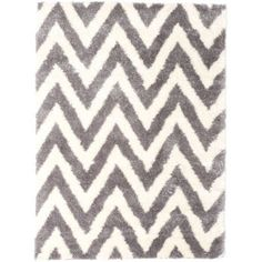 Bring A Traditional And Pretty Appearance To Your Indoor Decor With This ECarpet Gallery Chevron Cream Dark Grey Polypropylene Shag Area Rug