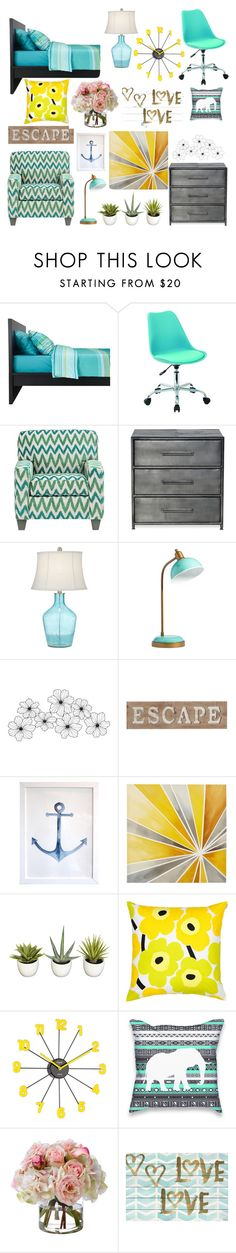 """Modern Coastal Bedroom"" by shippeyks ❤ liked on Polyvore featuring interior, interiors, interior design, home, home decor, interior decorating, Office Star, Pacific Coast, PBteen and Pier 1 Imports"